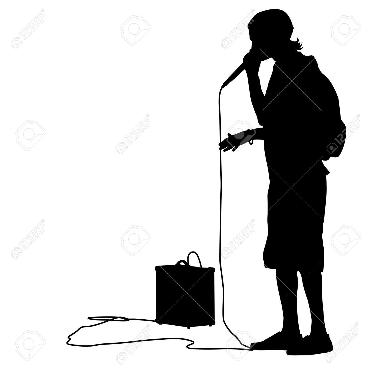 Silhouette of the guy beatbox with a microphone - 30908291