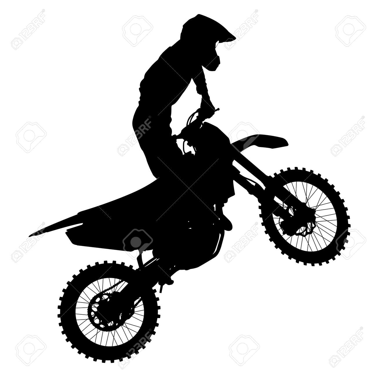 Black silhouettes Motocross rider on a motorcycle. Vector illustrations. - 31715601