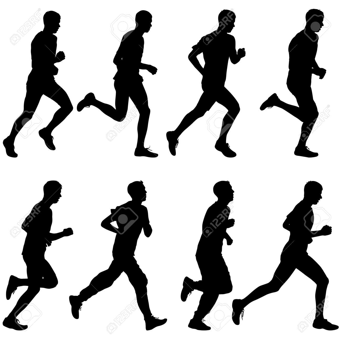 Set of silhouettes. Runners on sprint, men. vector illustration. - 36778243