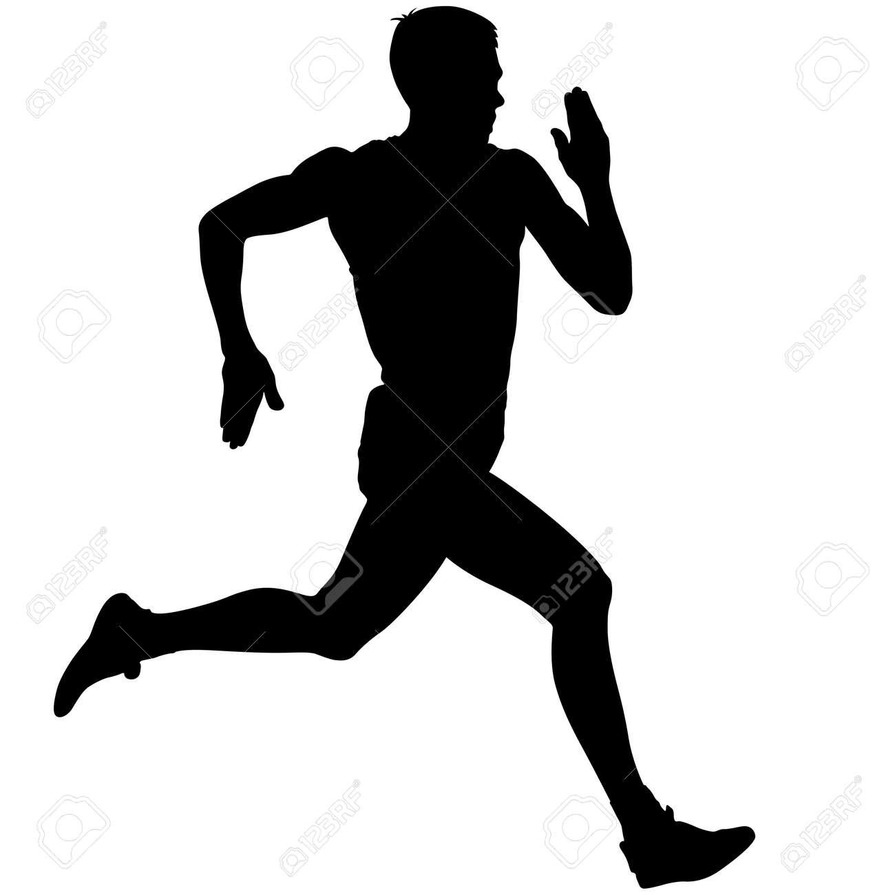 Athlete on running race, silhouettes. Vector illustration. - 36778502