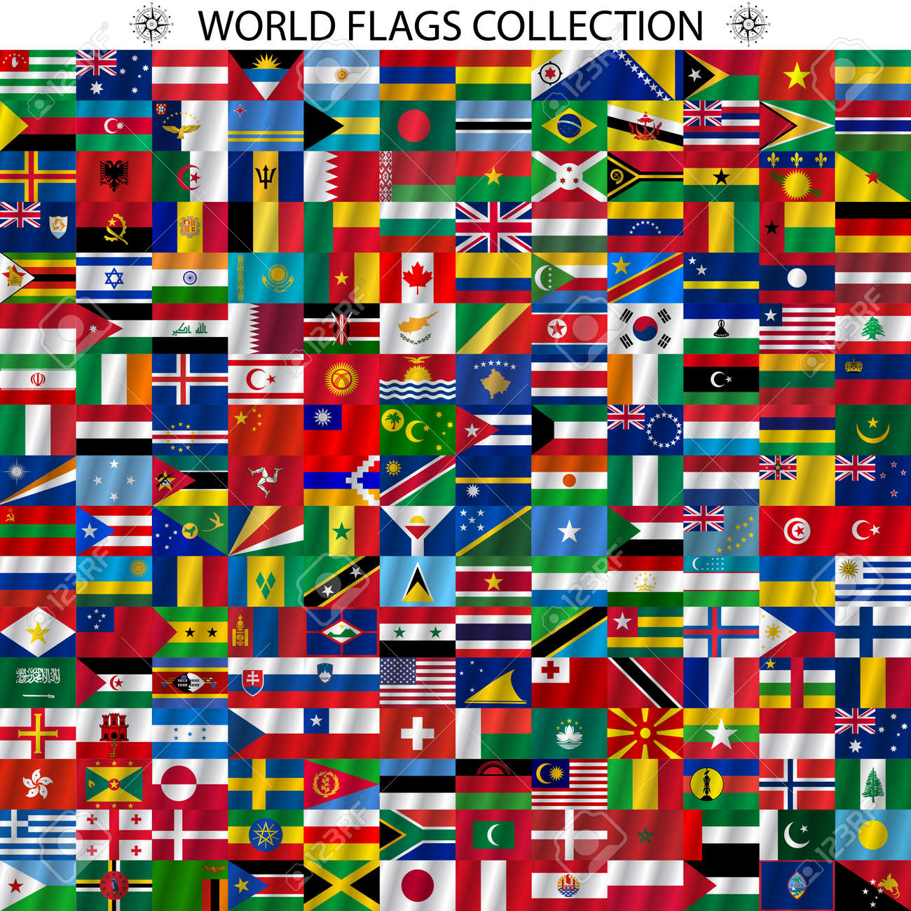 Flags of the world and map on white background. Vector illustration. - 36779151