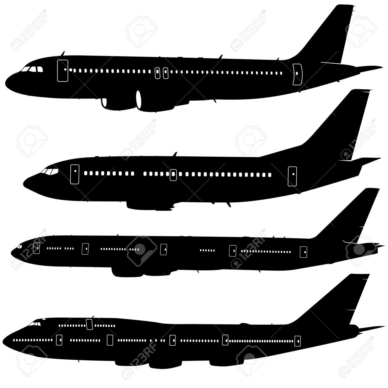 Collection of different aircraft silhouettes. vector illustration - 37738015