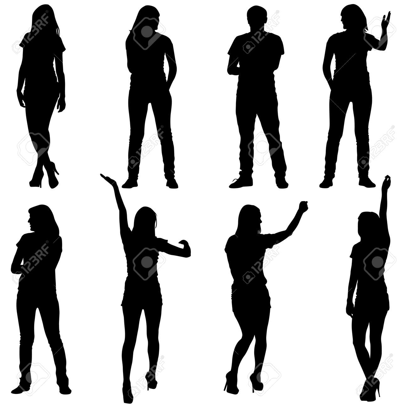 Black silhouettes of beautiful mans and womans on white background. Vector illustration. - 37738561