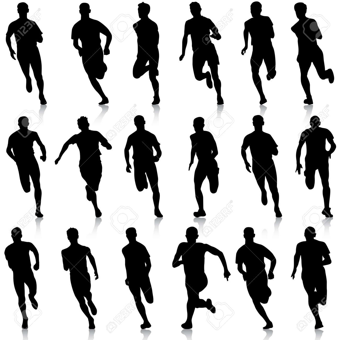 Set of silhouettes. Runners on sprint, men. vector illustration. - 39161951