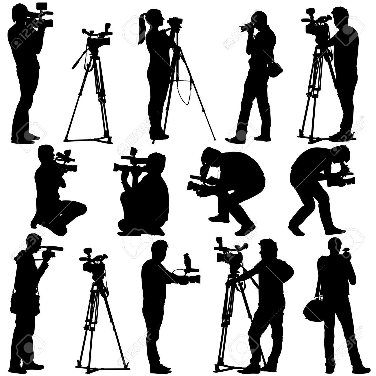Cameraman with video camera. Silhouettes on white background. Vector illustration. - 39161952