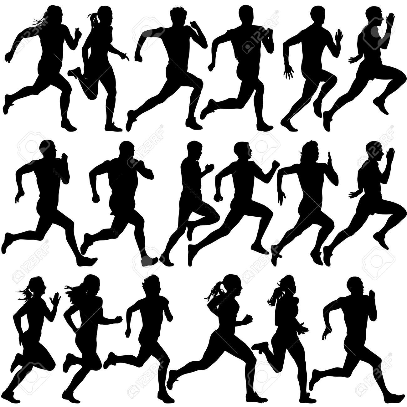 Set of silhouettes. Runners on sprint, men. vector illustration. - 39161953