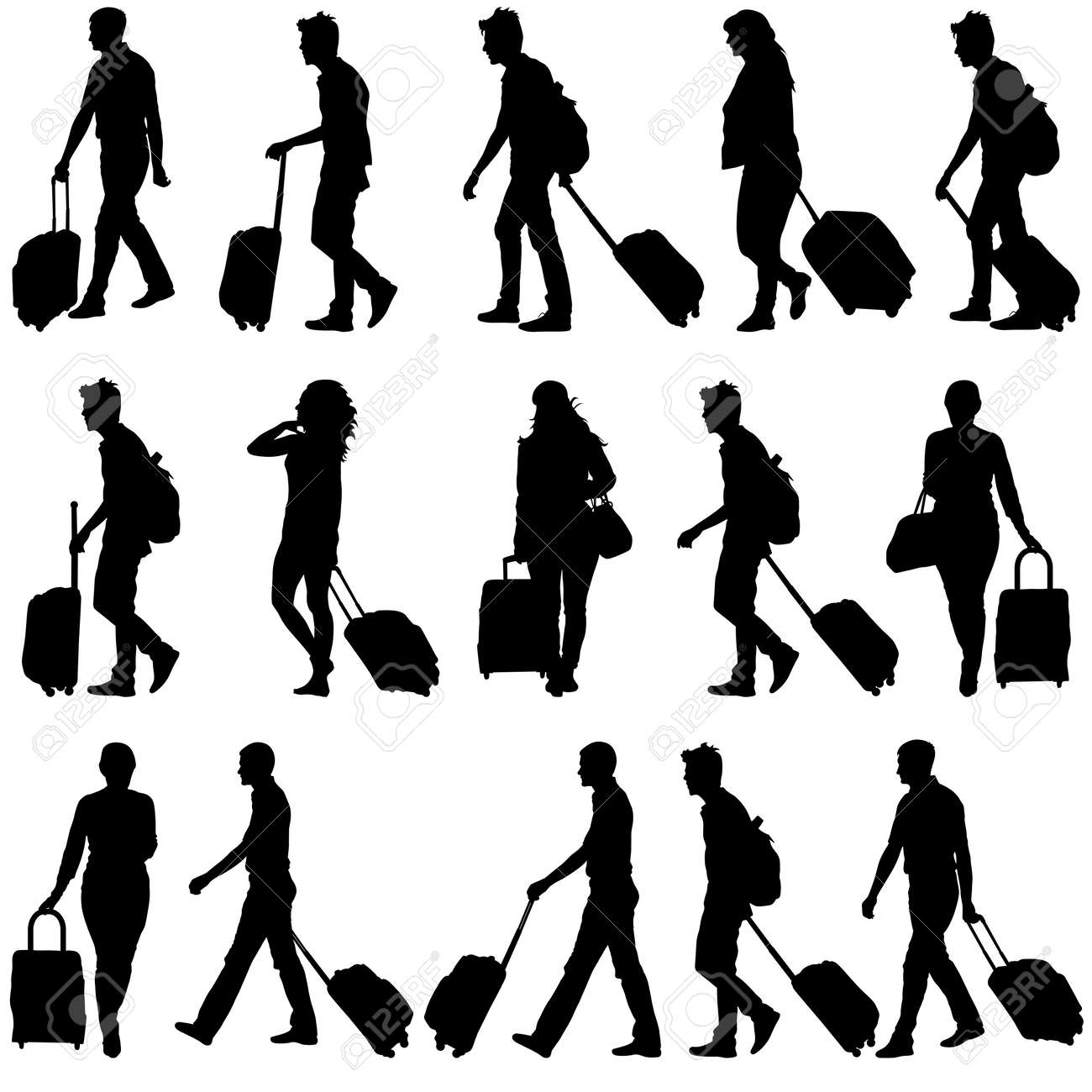 Black silhouettes travelers with suitcases on white background. Vector illustration. - 39162044