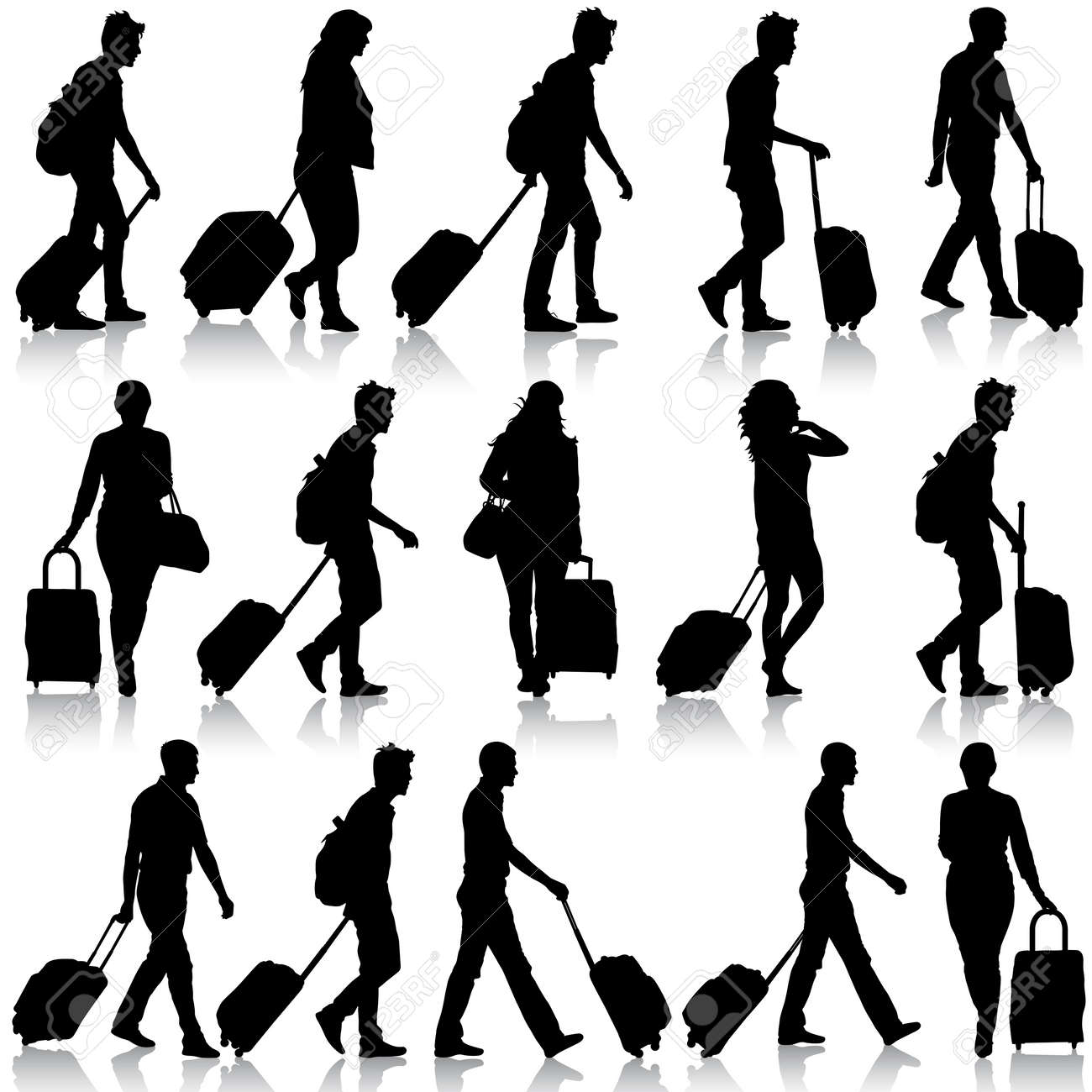 Black silhouettes travelers with suitcases on white background. Vector illustration. - 39162051