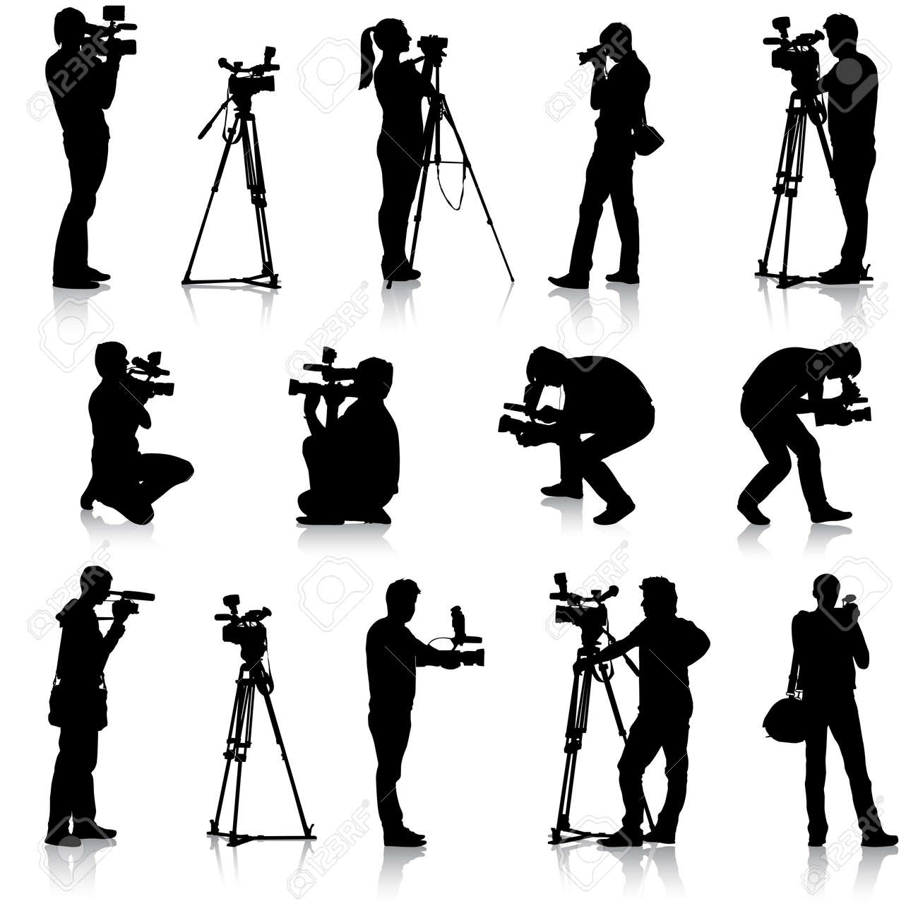 Cameraman with video camera. Silhouettes on white background. Vector illustration. - 39162060