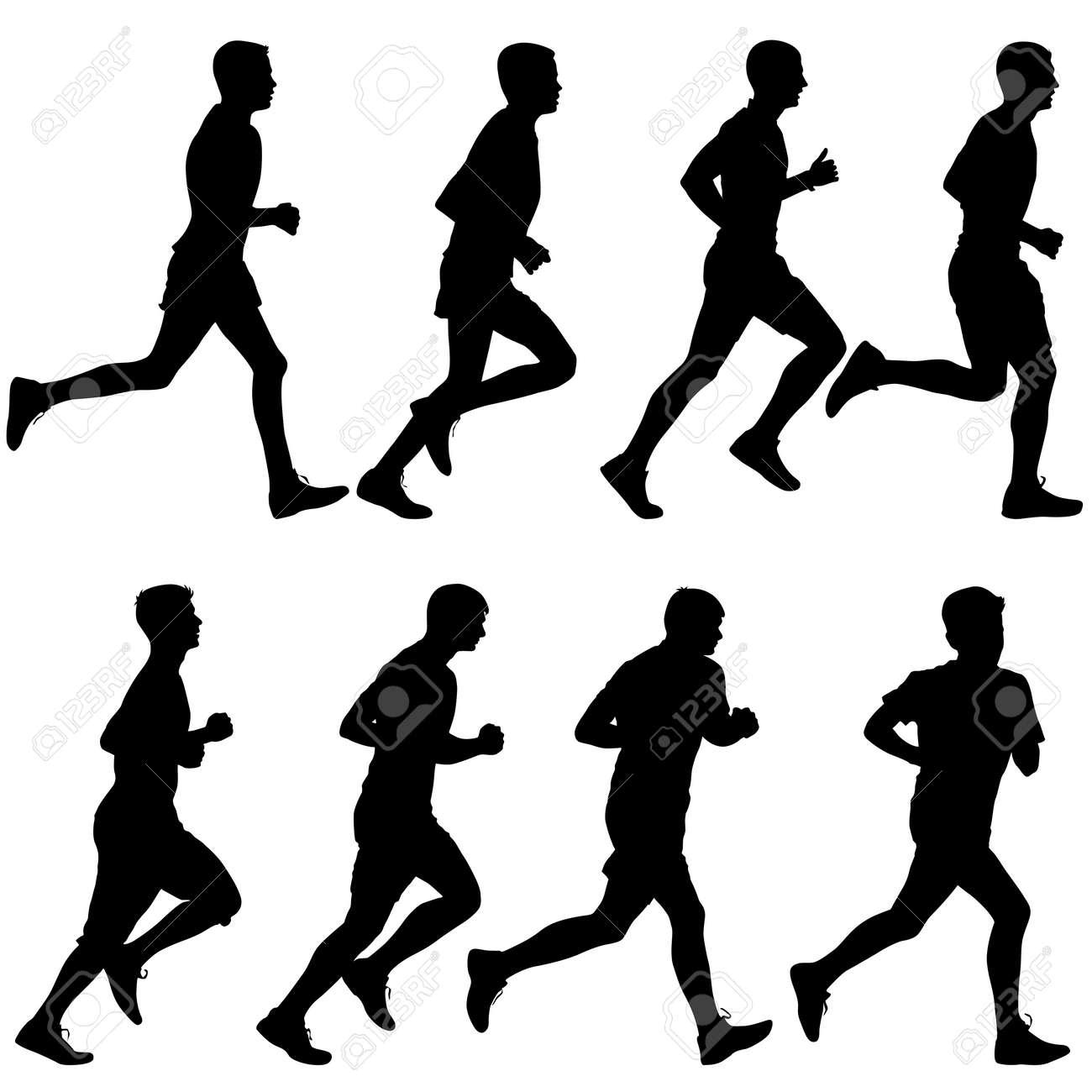 Set of silhouettes. Runners on sprint, men. vector illustration. - 41635559