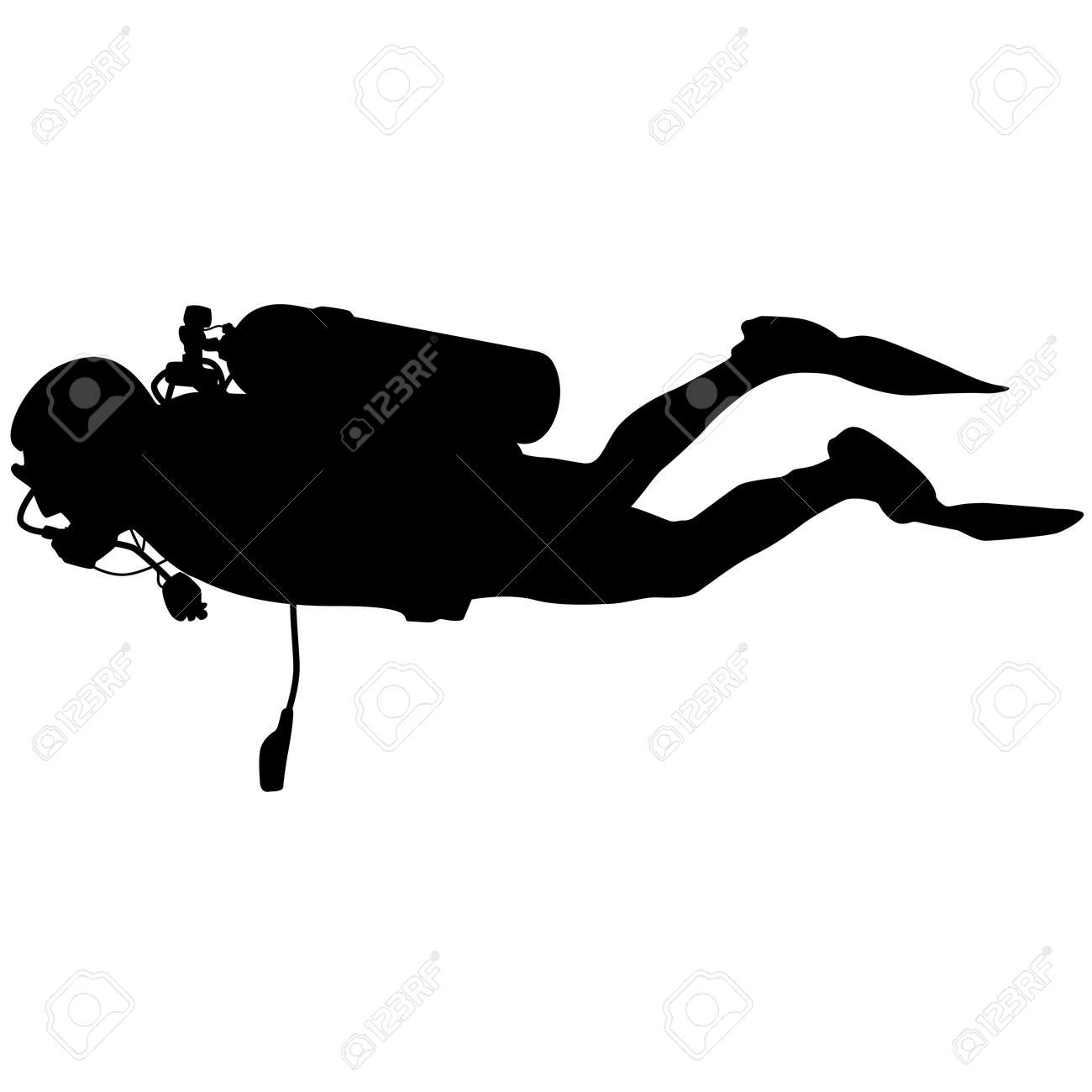 Black silhouette scuba divers. Vector illustration. - 41635842