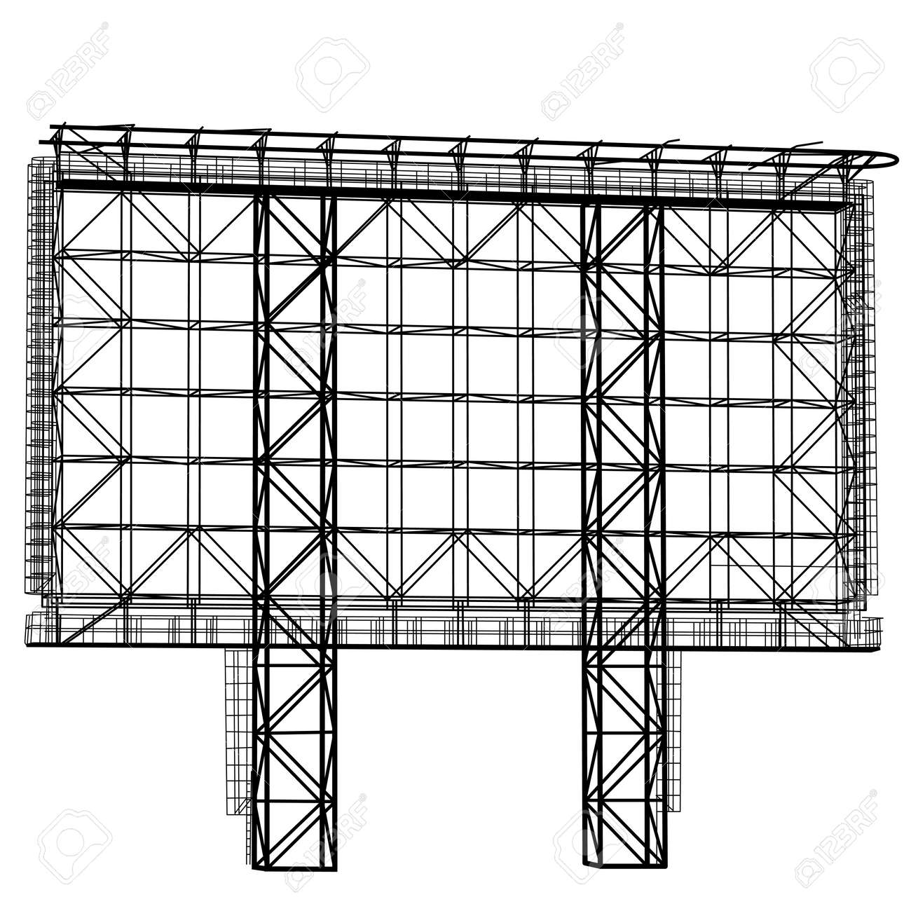 Silhouette of Steel structure billboard. Vector illustration. - 45909602