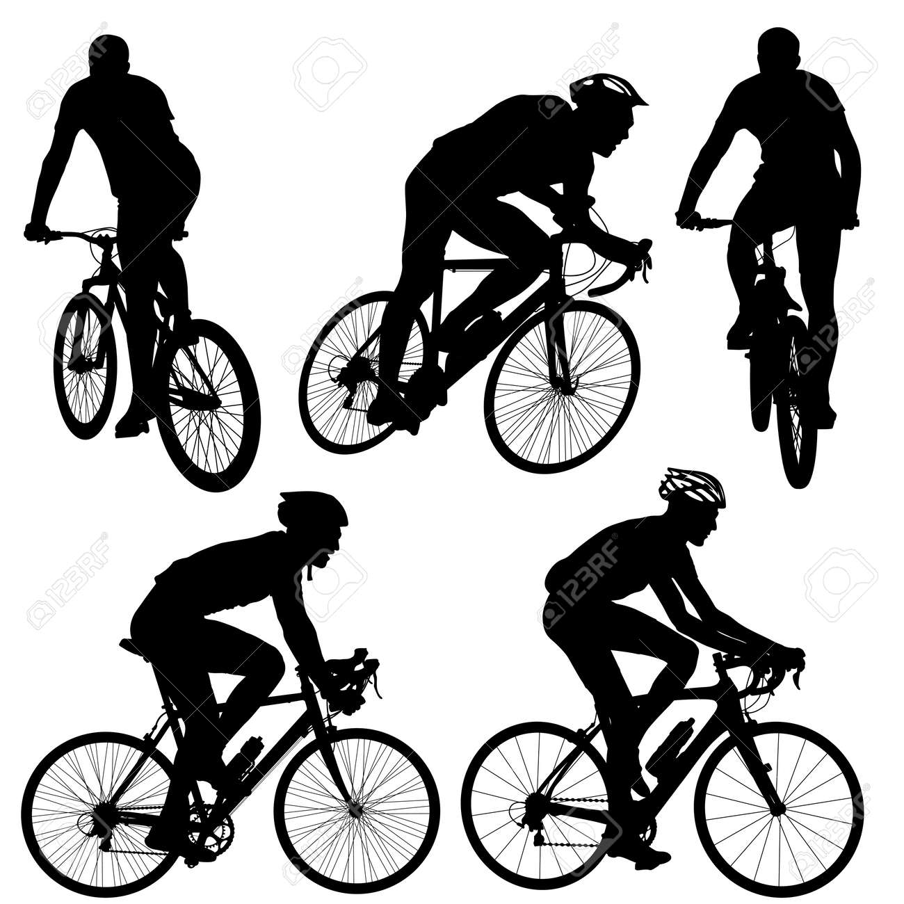 Set silhouette of a cyclist male. vector illustration. - 46940390