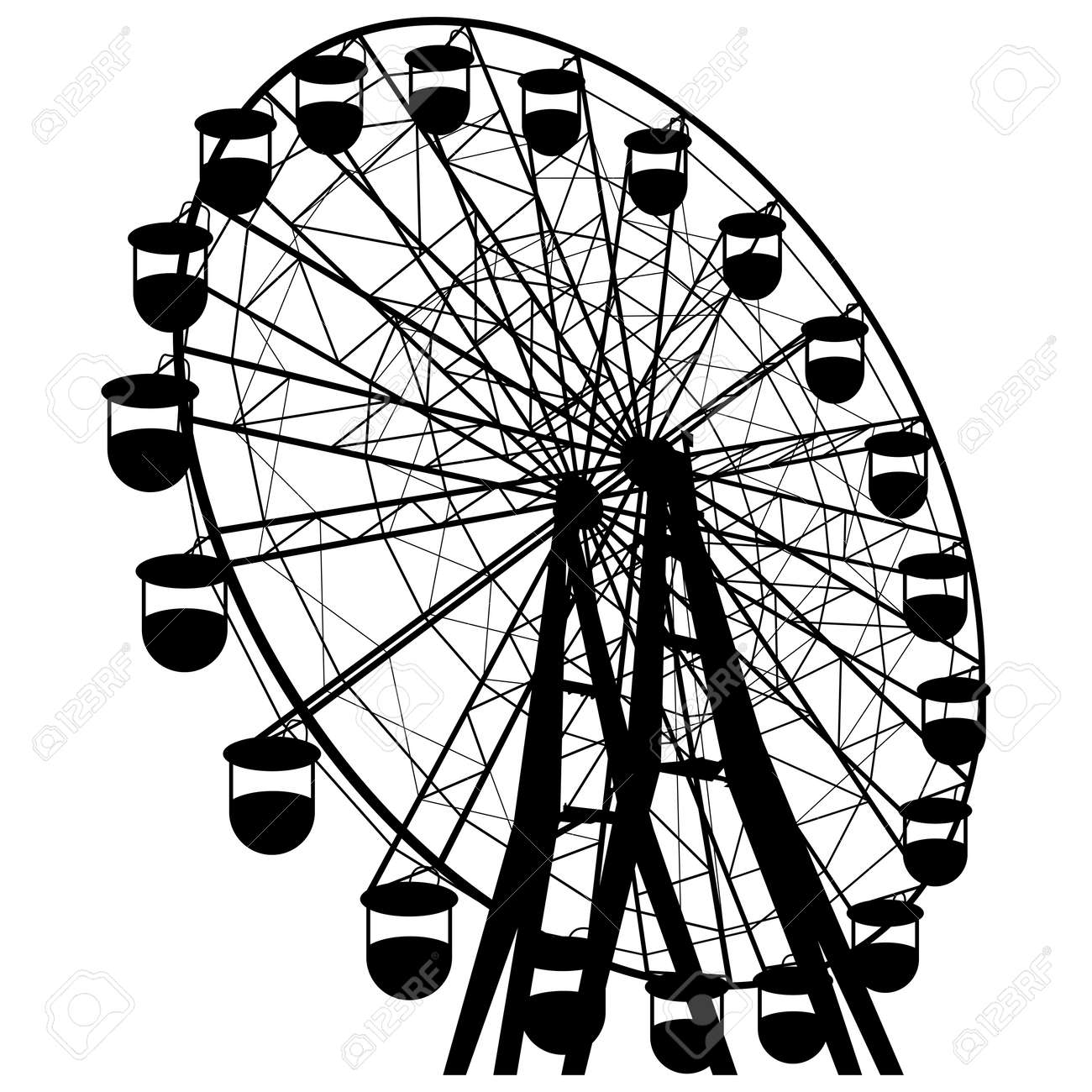 Silhouette atraktsion colorful ferris wheel. - 48523290