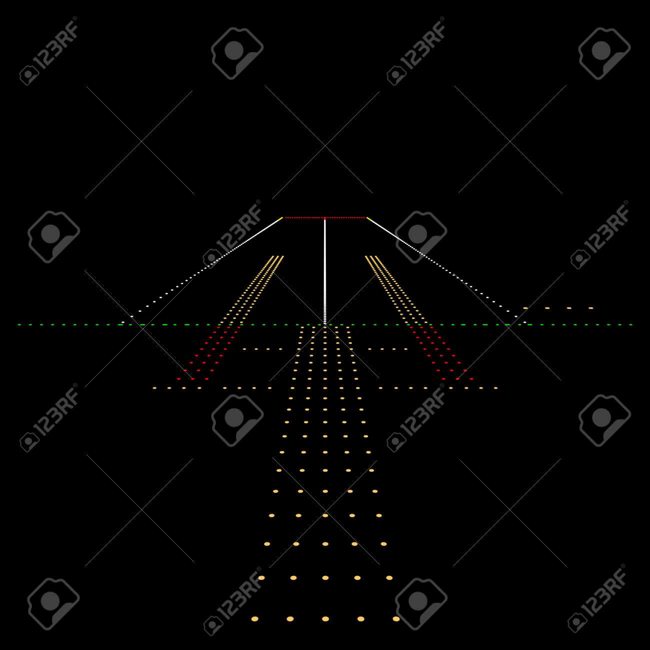 Luminous night landing lights Airport. Vector illustration. - 52825665