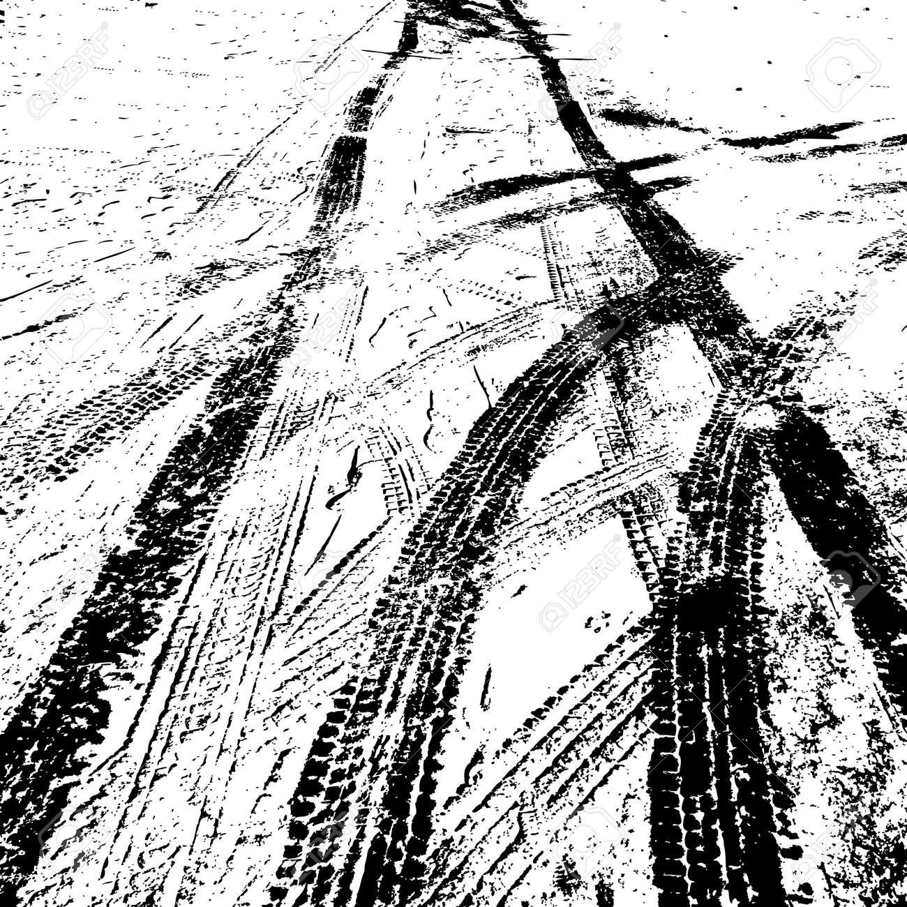Grunge background with black tire track. Vector illustration. - 52825709
