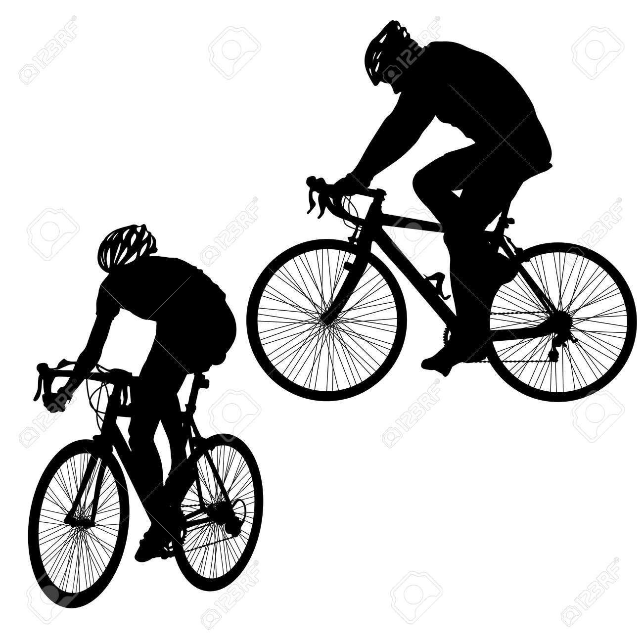 Set silhouette of a cyclist male on white background. - 126469513