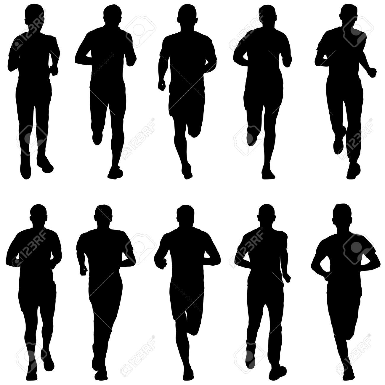 Set of silhouettes. Runners on sprint men. - 126469535