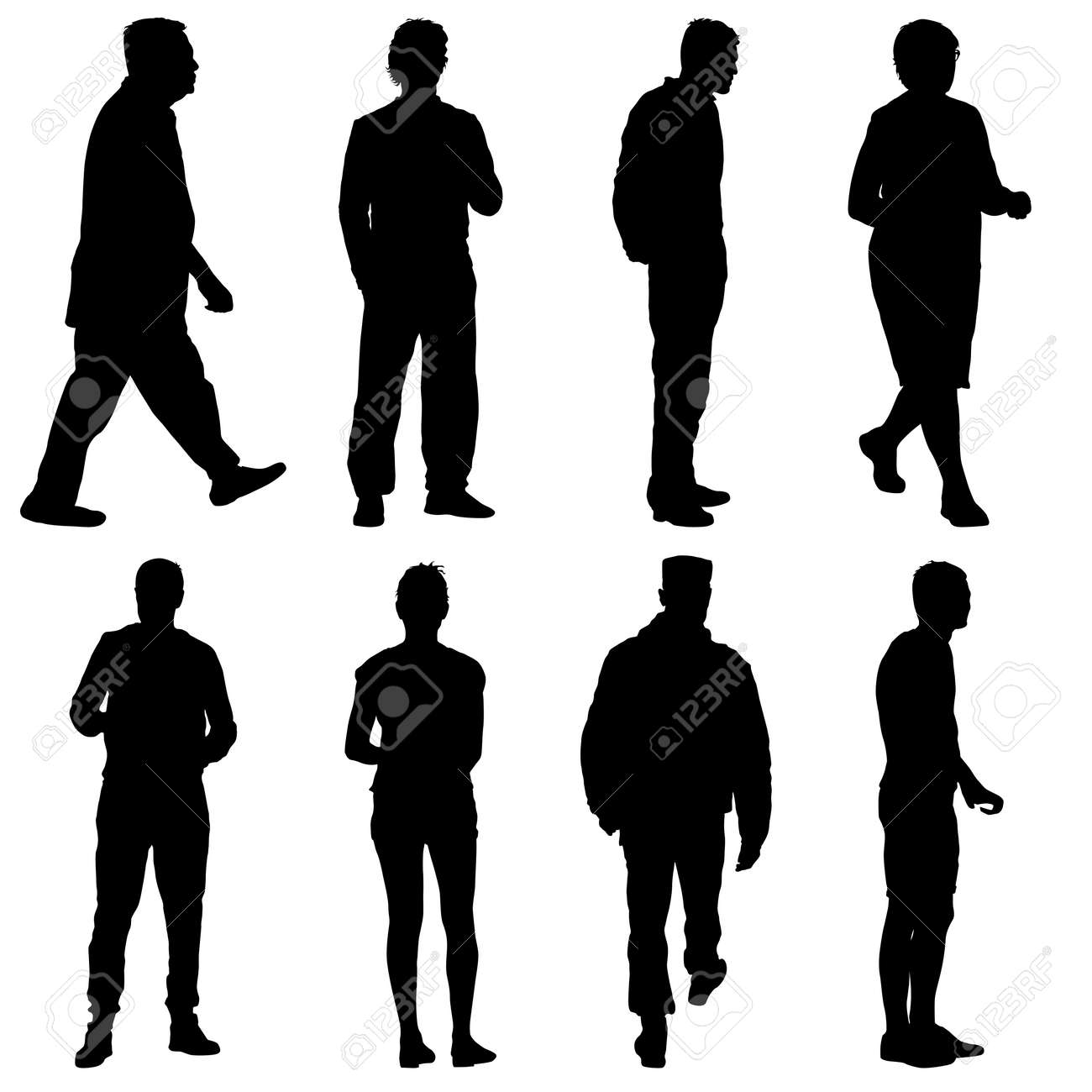 Black silhouette group of people standing in various poses. - 126469538
