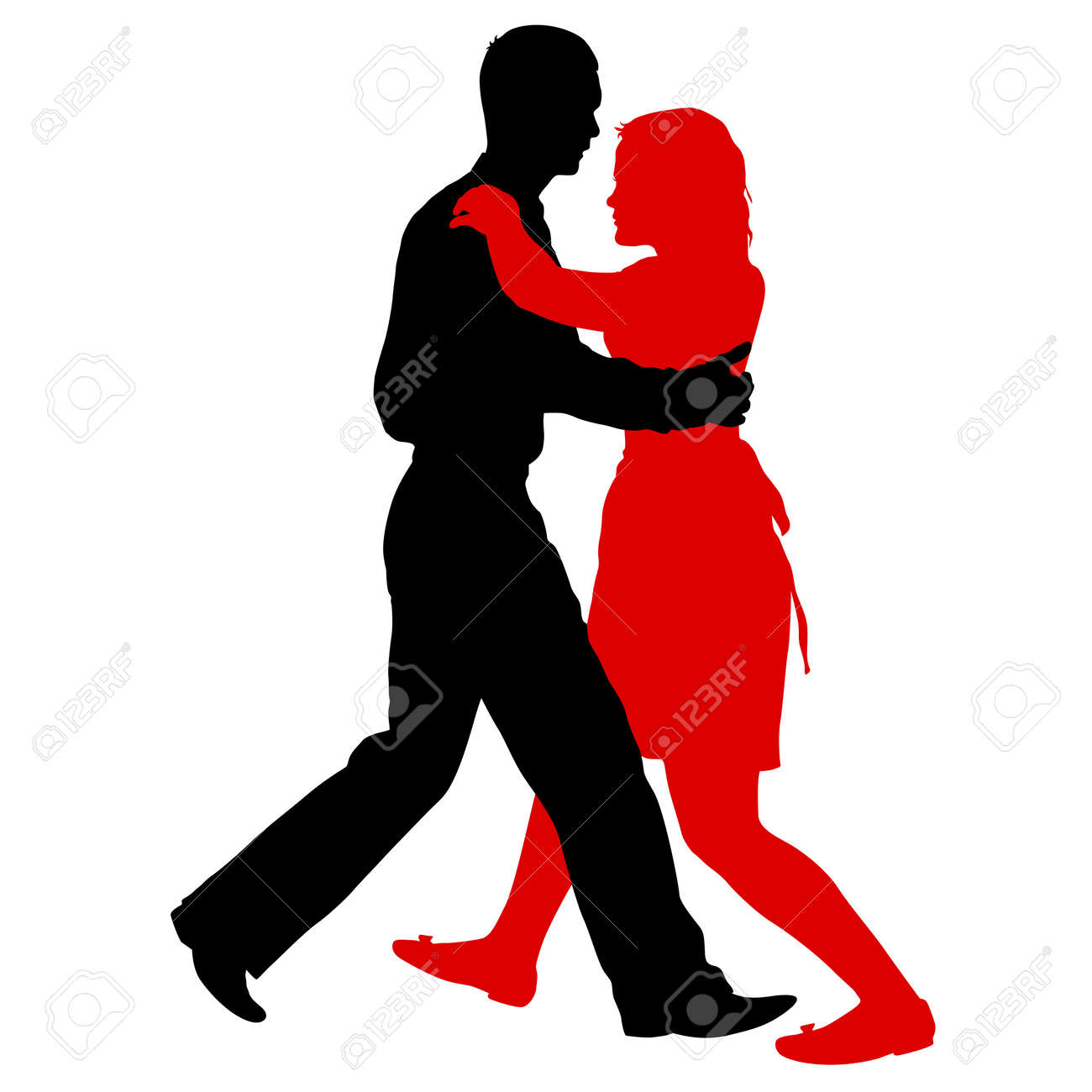 Black silhouettes dancing man and woman on white background. - 125805724