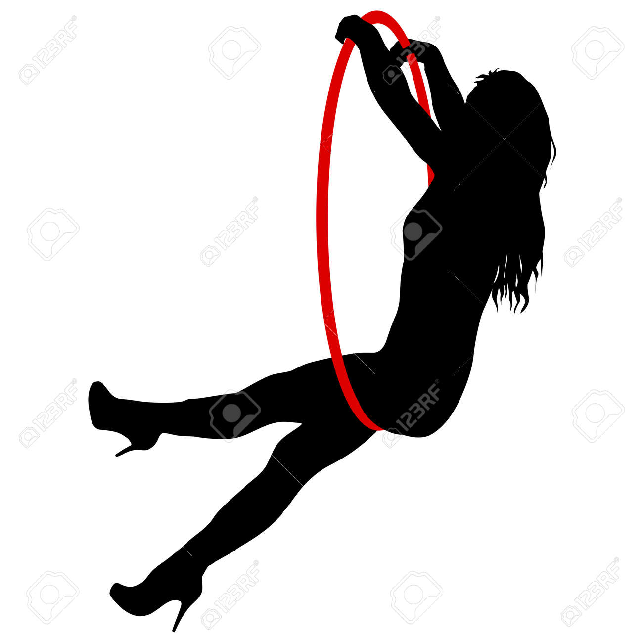 Silhouette woman doing some acrobatic elements aerial hoop on a white background. - 125805730