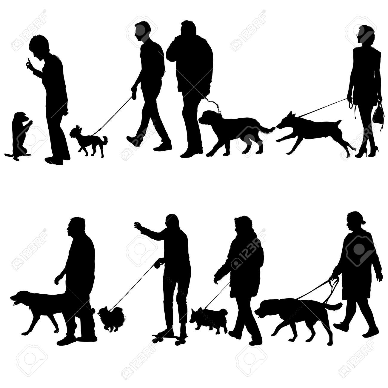 Set silhouette of people and dog on a white background. - 125806882