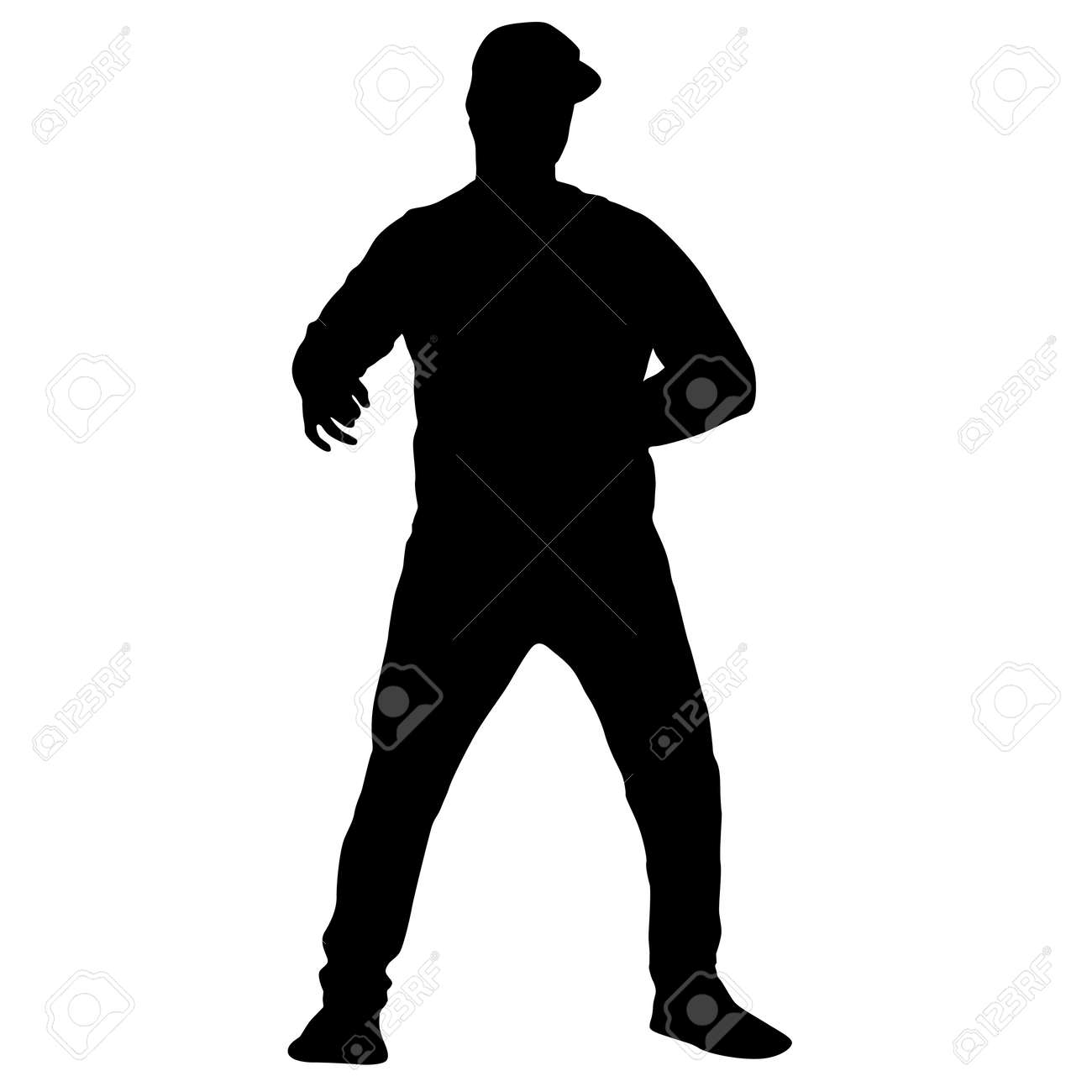 Black silhouette man standing, people on white background. - 147437538