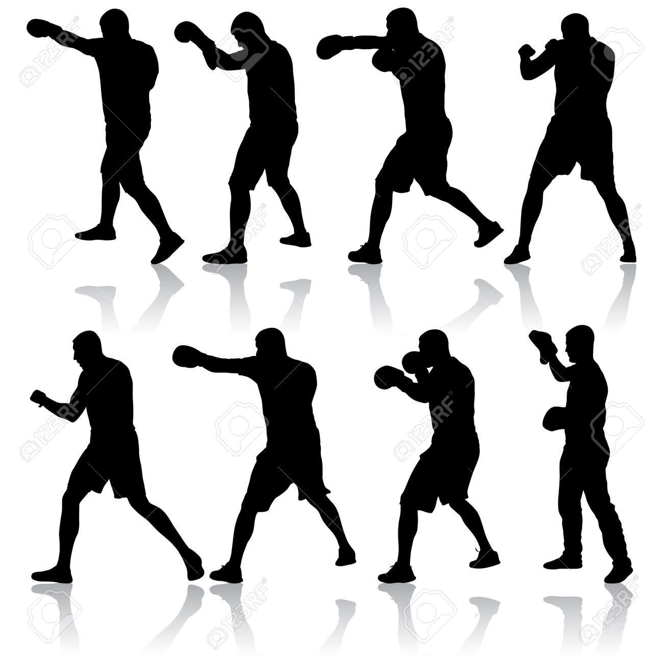 Black set silhouette of an athlete boxer on a white background. - 147442737