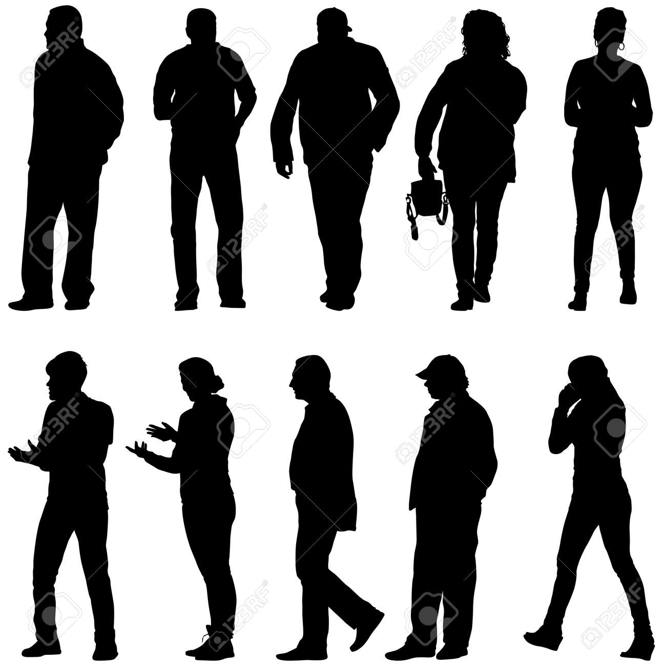 Silhouette Group of People Standing on White Background. - 159241318