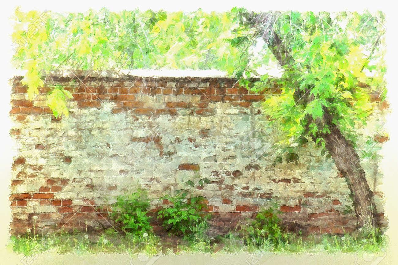 Mur De Briques Avec De La Peinture écaillée Dans Le Vieux Jardin Abandonné Illustration Dessinée Aquarelle