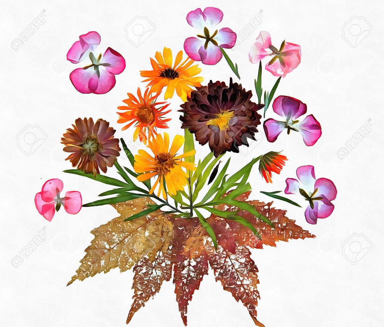 Dessin de feuilles et de fleurs d\u0027automne séchées sur un réseau de pailles  minces et des branches isolées sur fond blanc papier aquarelle pour