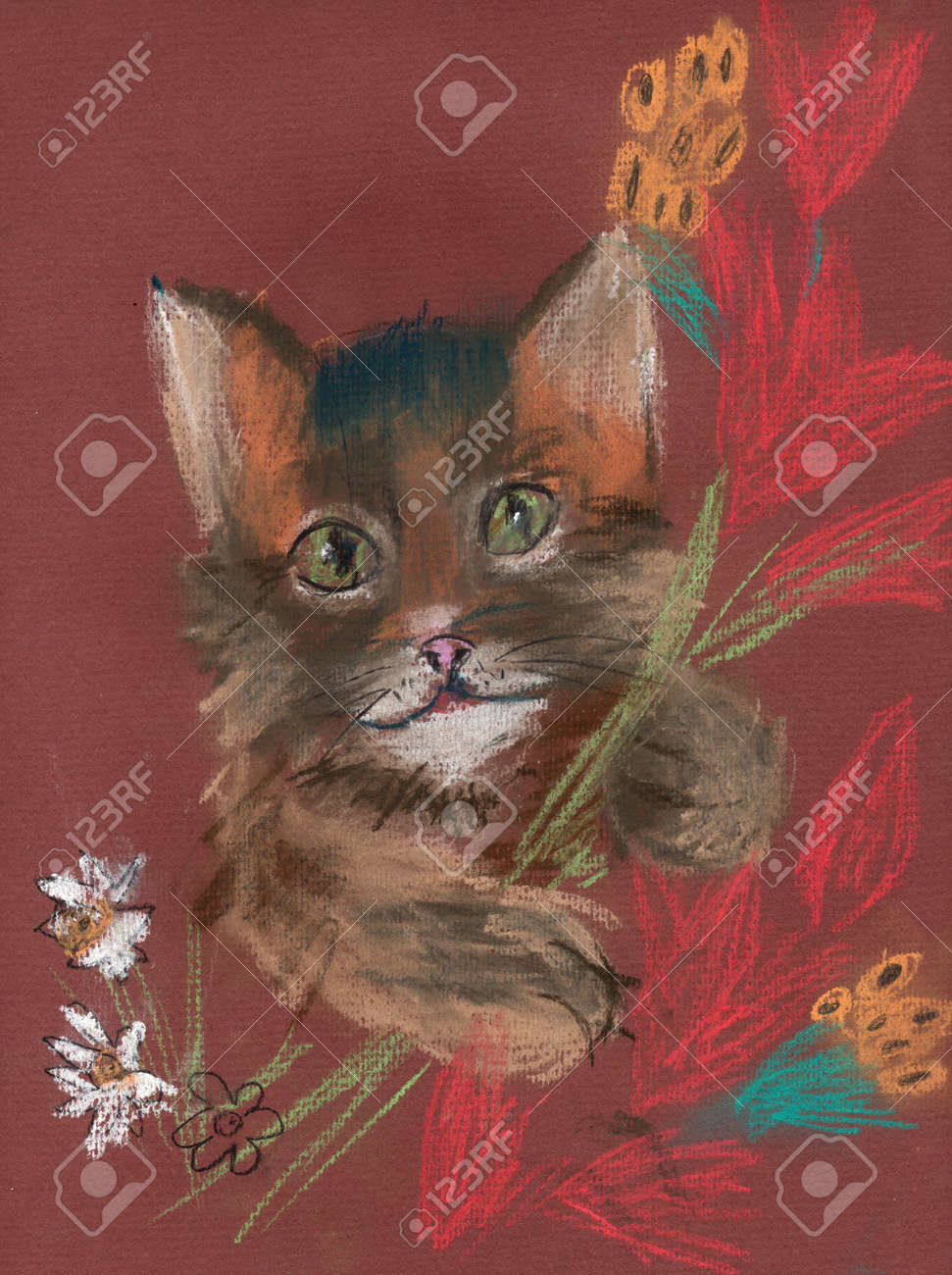 Brown Kitten With A Bouquet Of Flowers Pastel Drawing Stock Photo ...