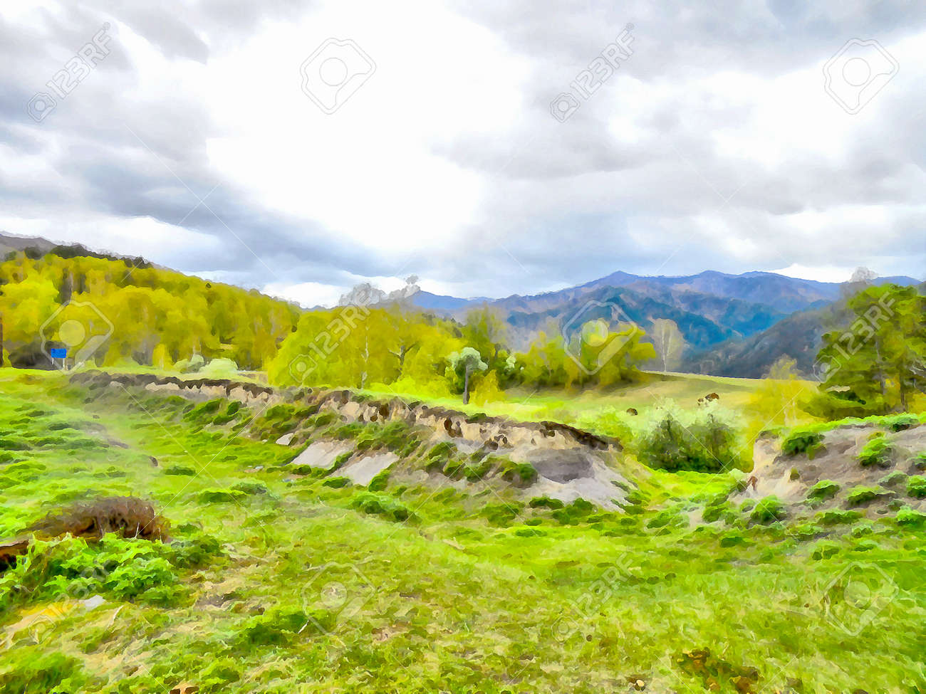Background watercolor painting of a grassy field road mountains background watercolor painting of a grassy field road mountains and river stock photo 63835016 voltagebd Images