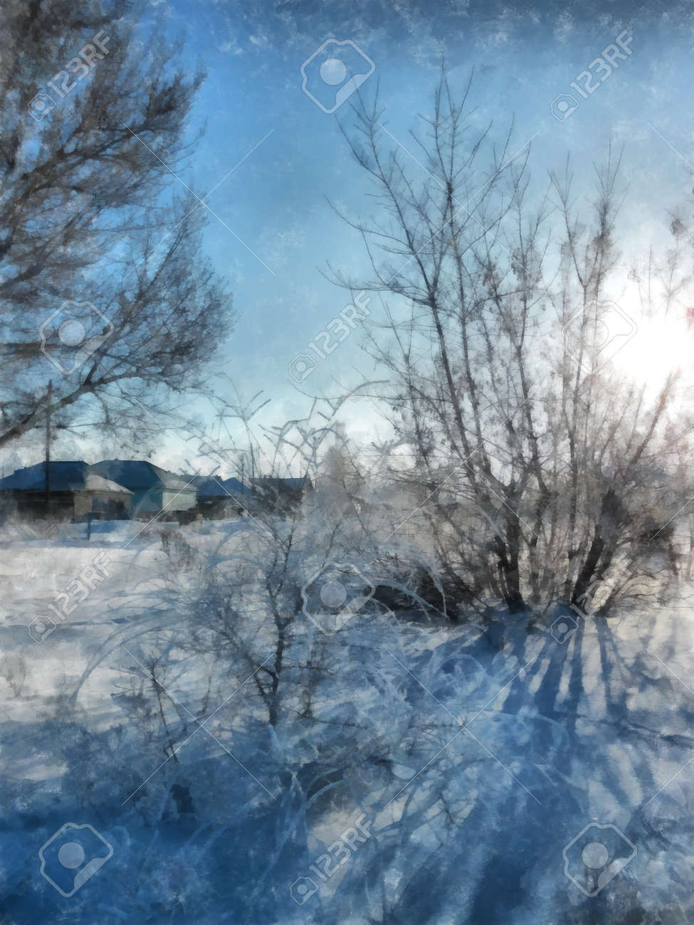 A Winter Clear Day Rural Landscape With Rustic Garden Covered Snow