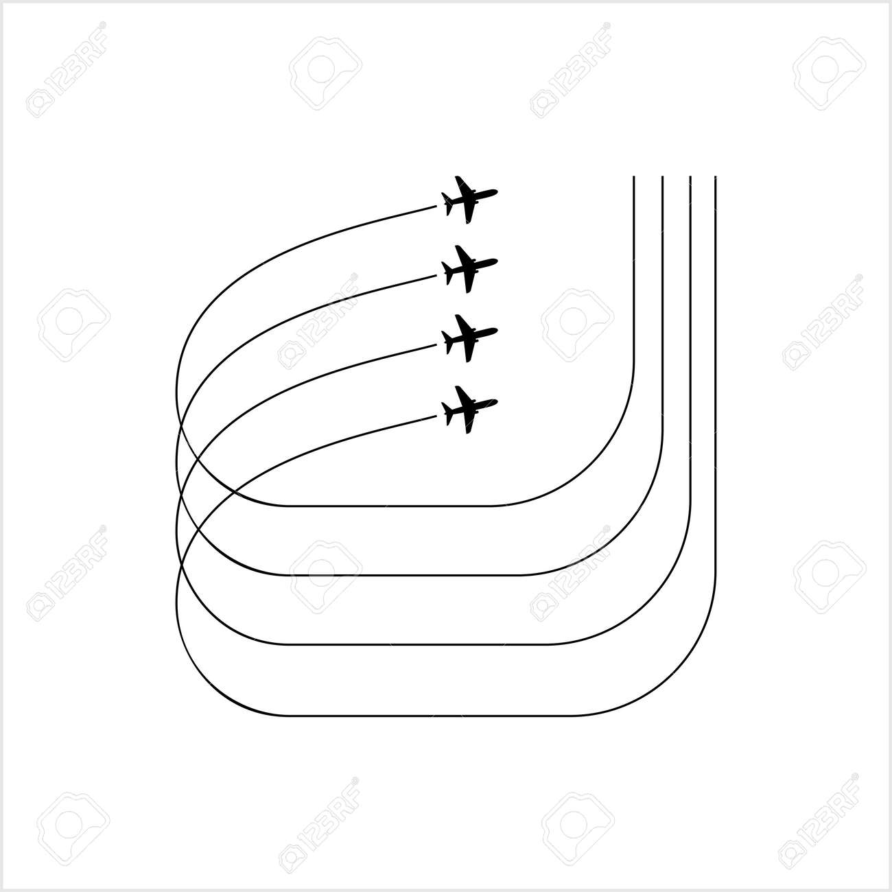 Airplane Flying Formation, Air Show Display, The Disciplined Flight Vector Art Illustration - 149570936