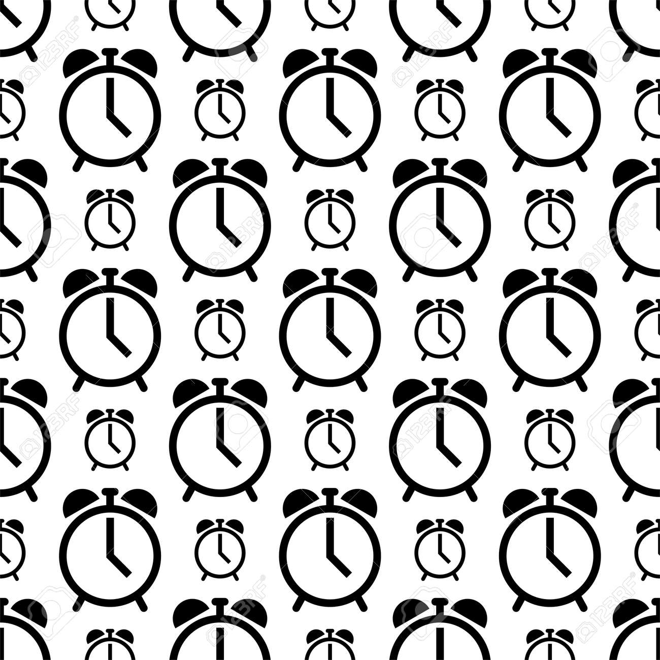 Alarm Clock Icon Seamless Pattern Vector Art Illustration - 149570943
