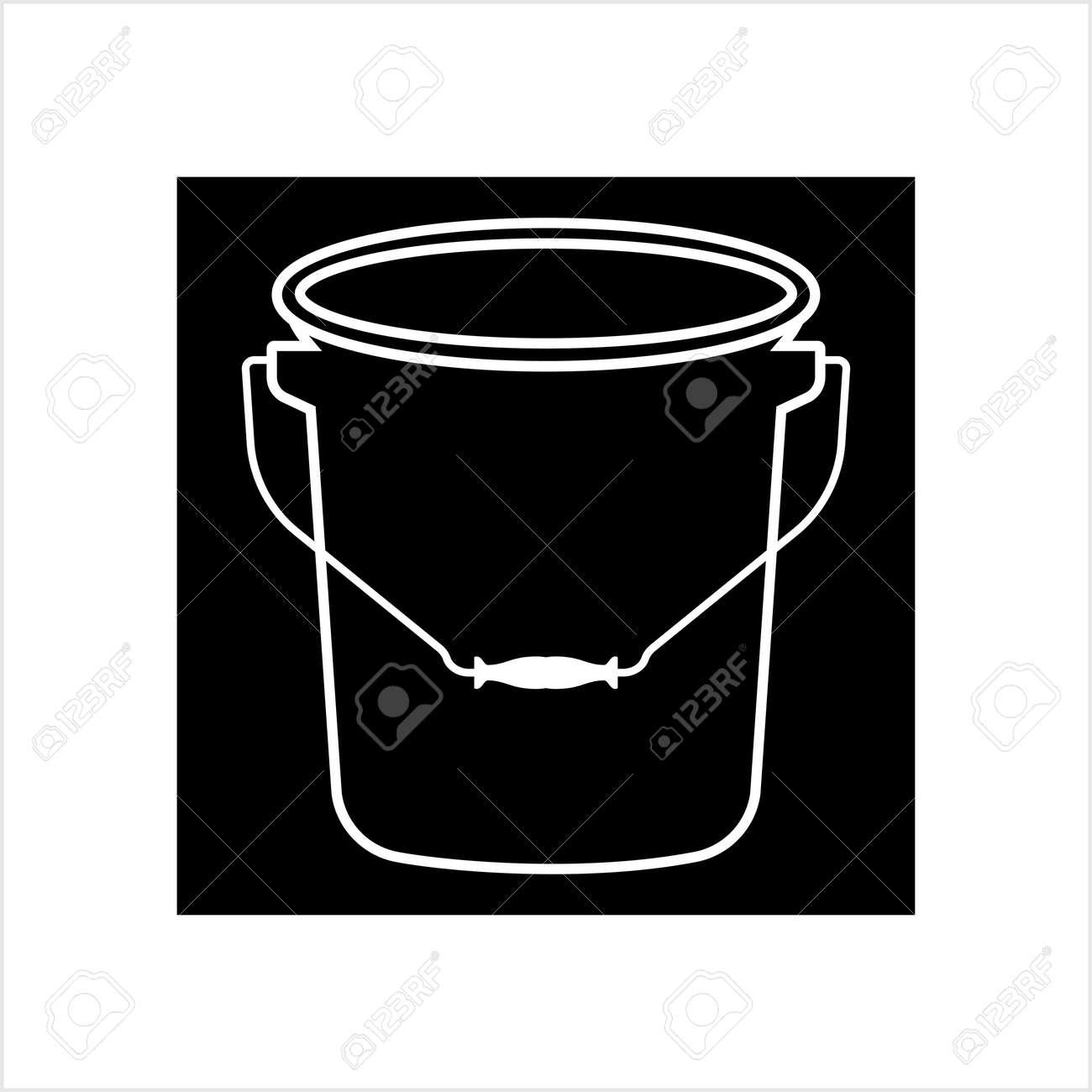 Bucket Icon, Water Bucket Icon Vector Art Illustration - 148094961