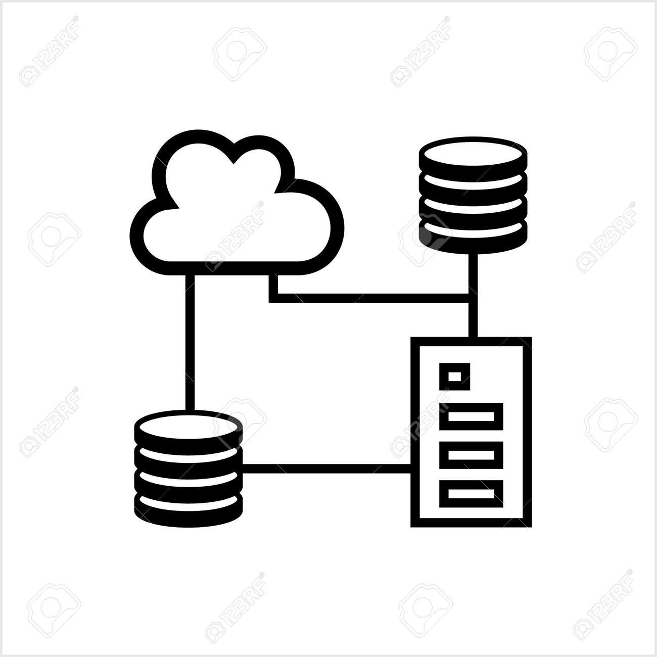 Cloud Database Icon, Data Base Icon Vector Art Illustration - 149571089