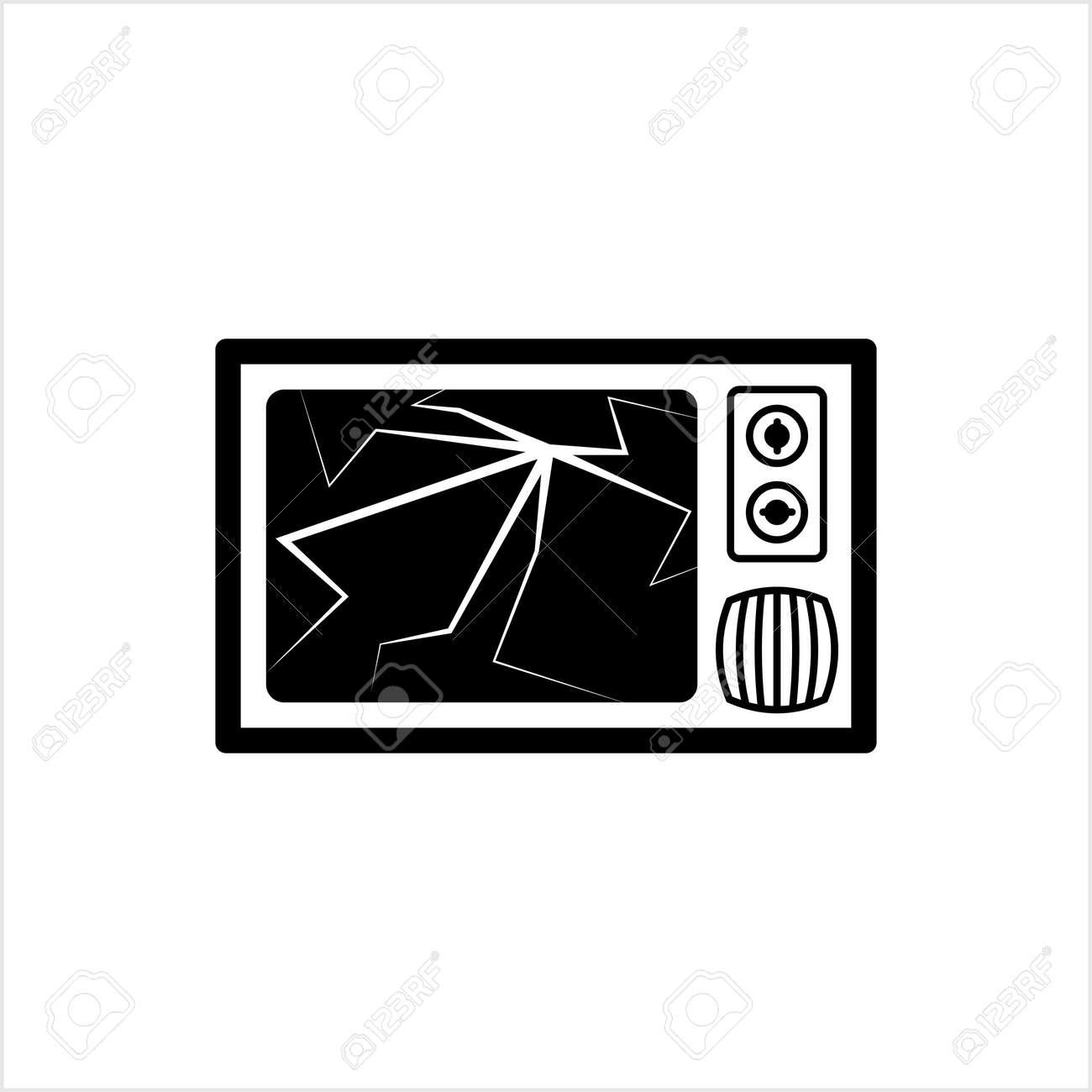 Cracked Tv Screen Icon Vector Art Illustration - 148095176