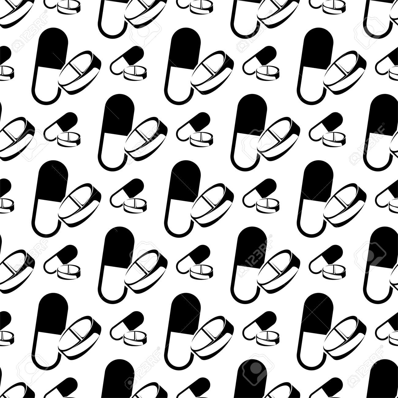 Seamless Pattern Of Capsule Pills Vector Art Illustration - 149571100