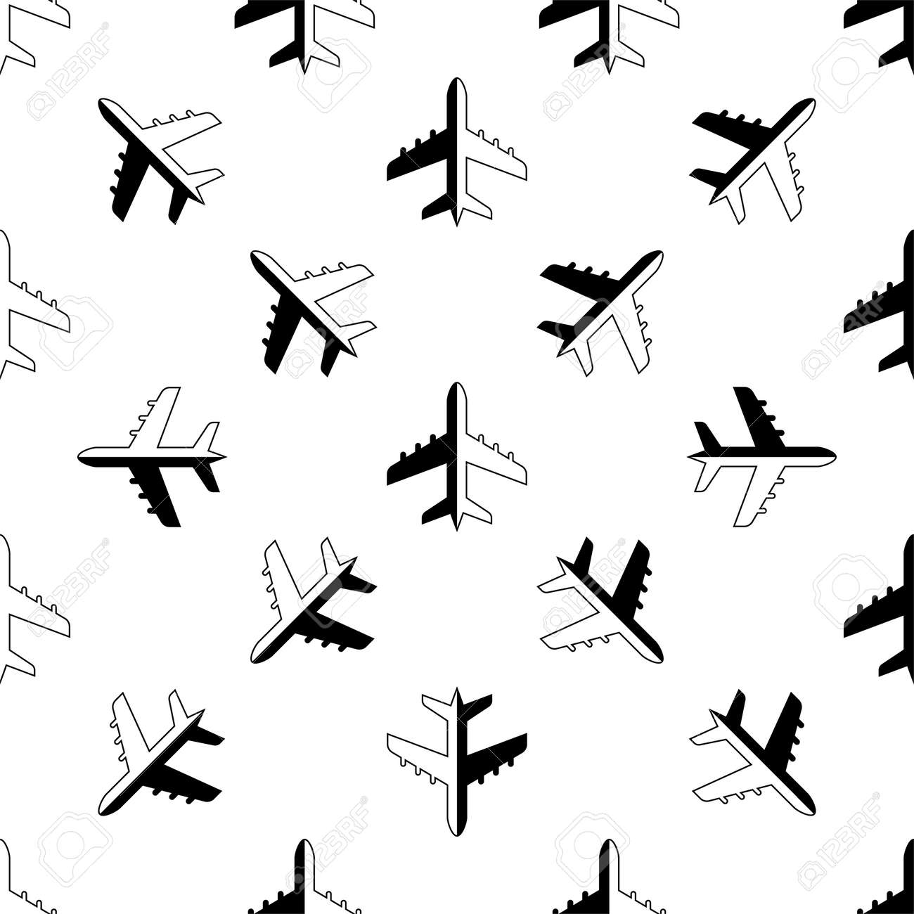 Airplane Icon Seamless Pattern Vector Art Illustration - 148090740