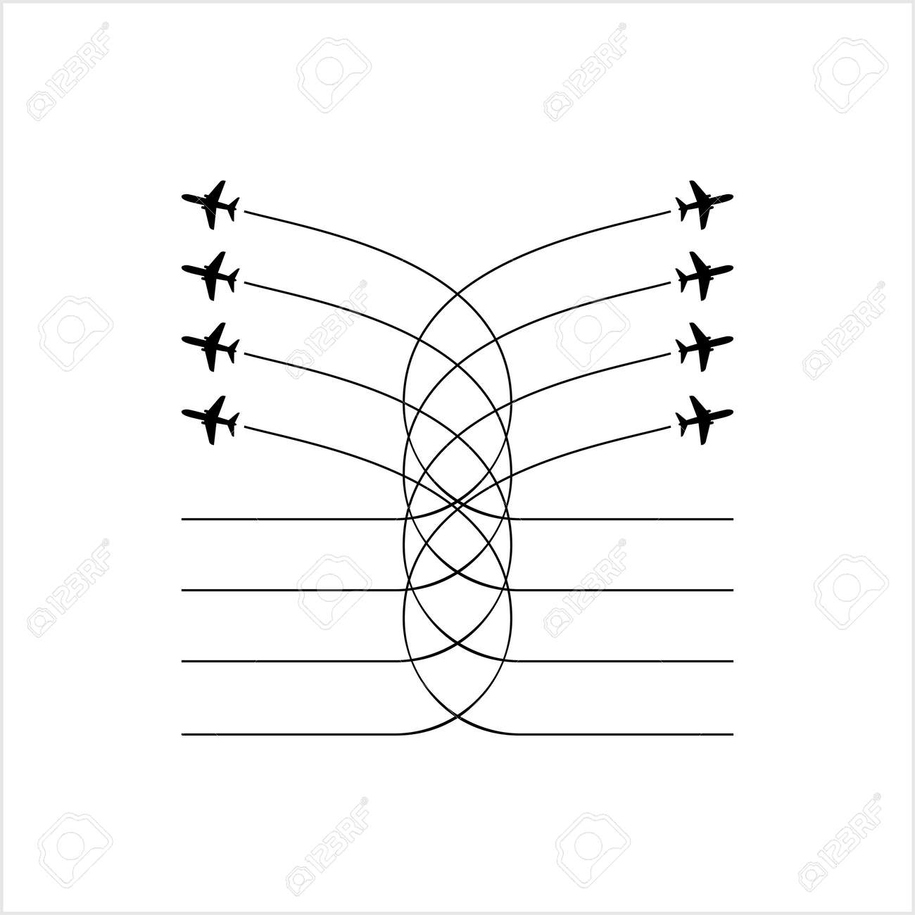 Airplane Flying Formation, Air Show Display, The Disciplined Flight Vector Art Illustration - 148096094