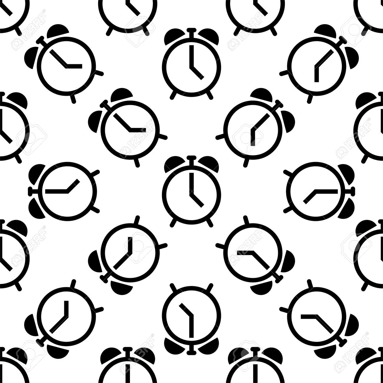 Alarm Clock Icon Seamless Pattern Vector Art Illustration - 149571155