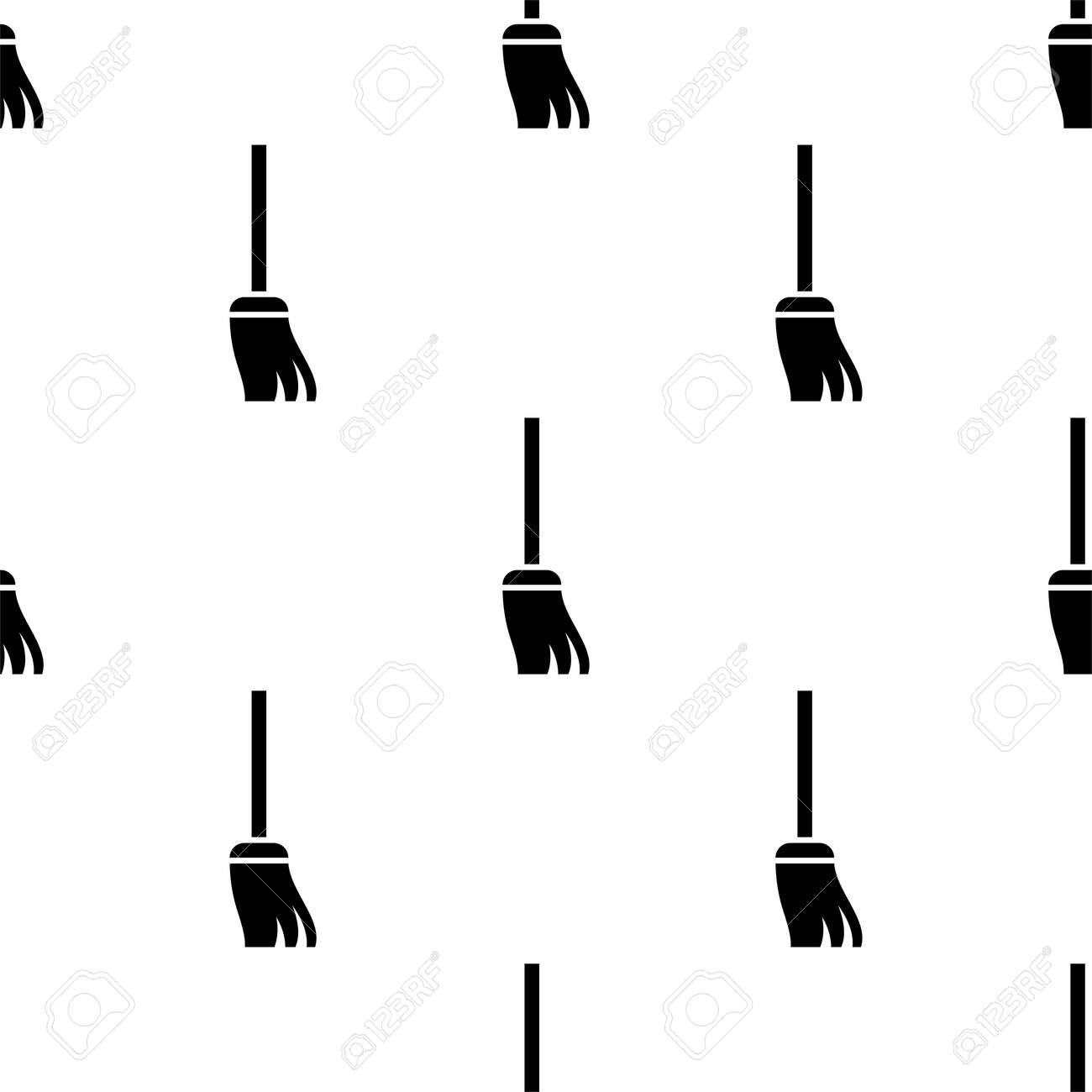 Broom Icon, Cleaning Broom Seamless Pattern Vector Art Illustration - 148090745