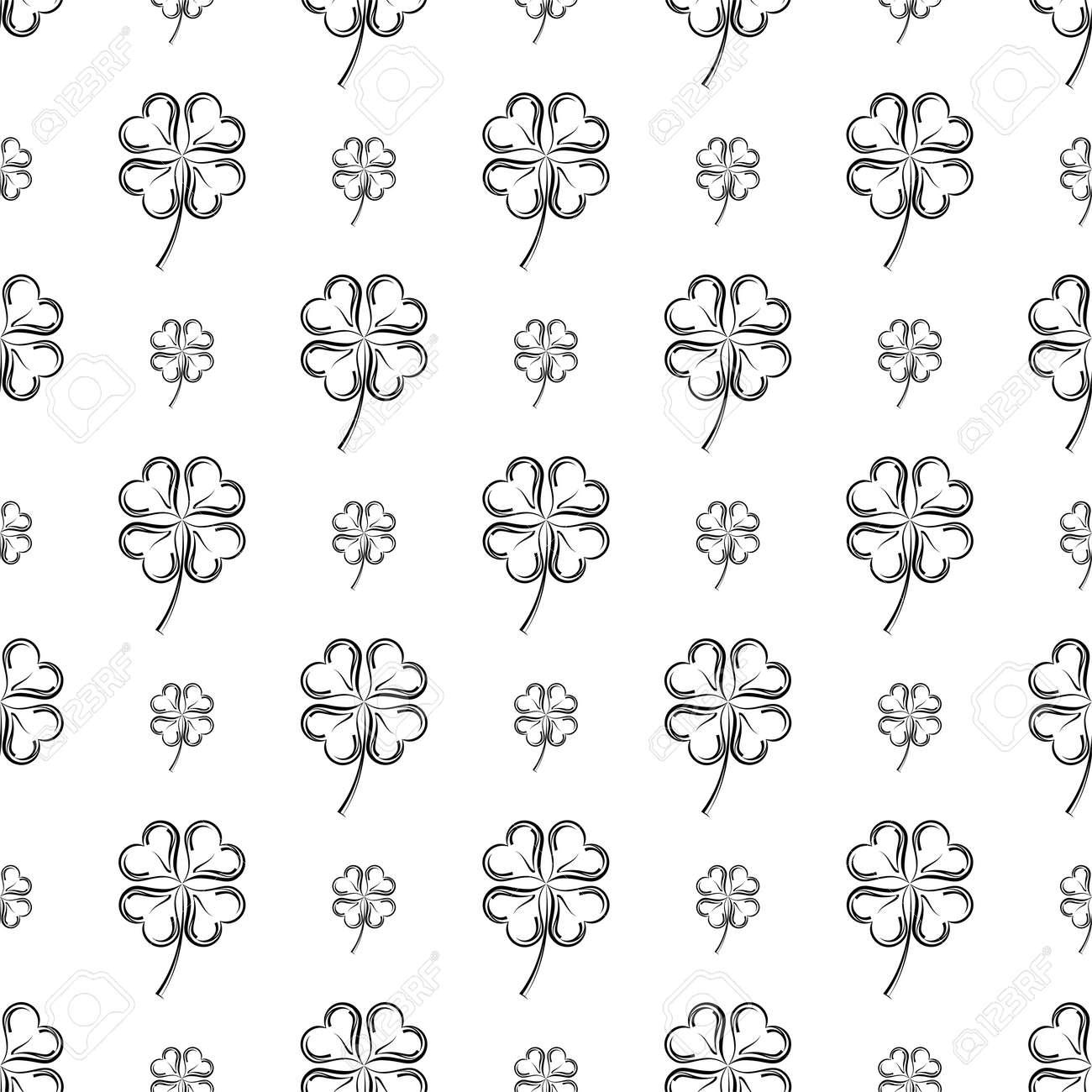 Clover Four Leaf Shamrock Seamless Pattern Vector Art Illustration - 148090750