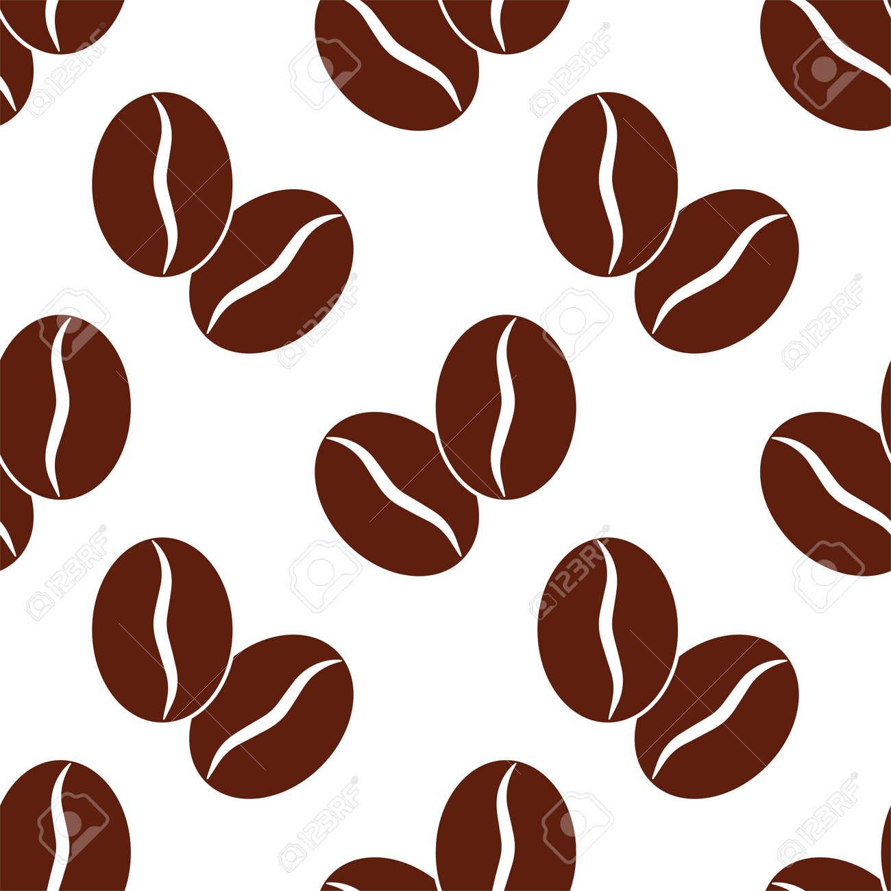 Coffee Bean Icon Seamless Pattern Vector Art Illustration - 148090751