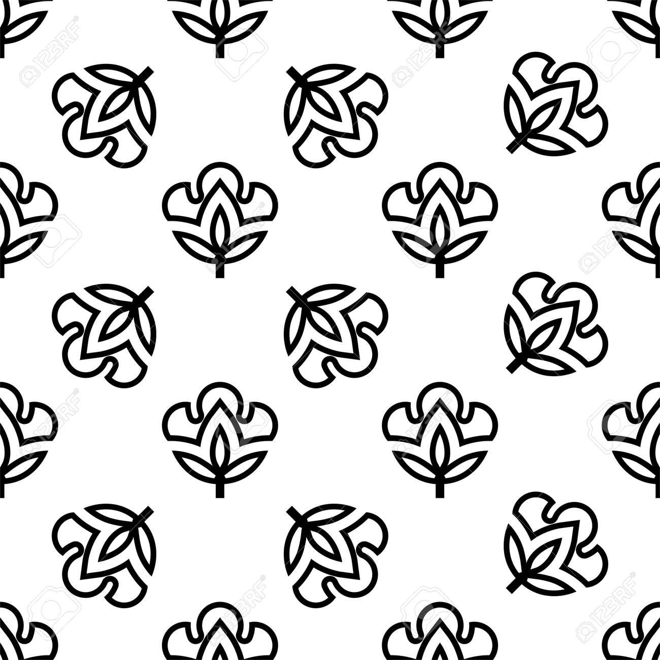Cotton Flower Icon Seamless Pattern, Cotton Ball, Cotton Fiber Seamless Pattern Vector Art Illustration - 148090754