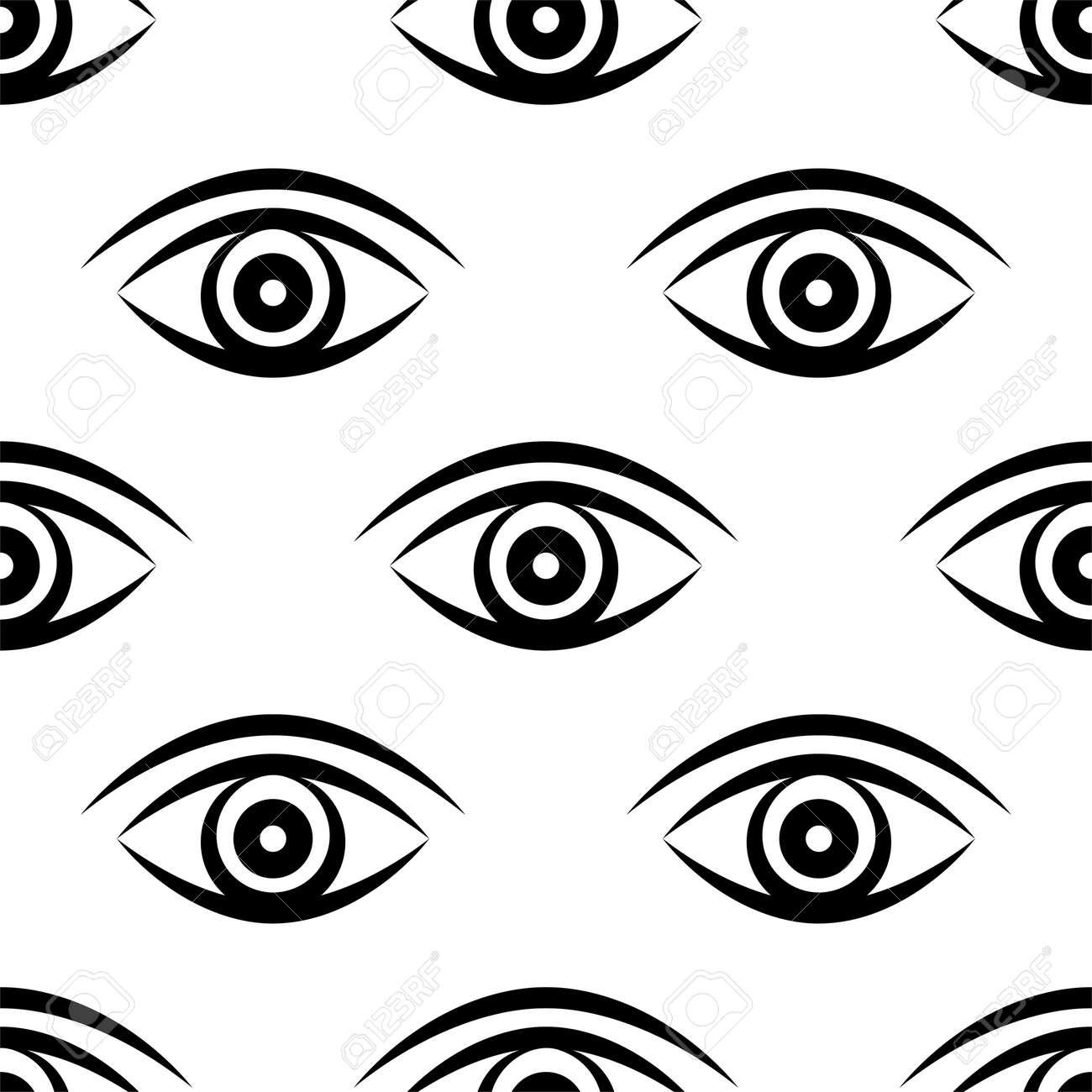 Eye Icon Seamless Pattern Vector Art Illustration - 148090781