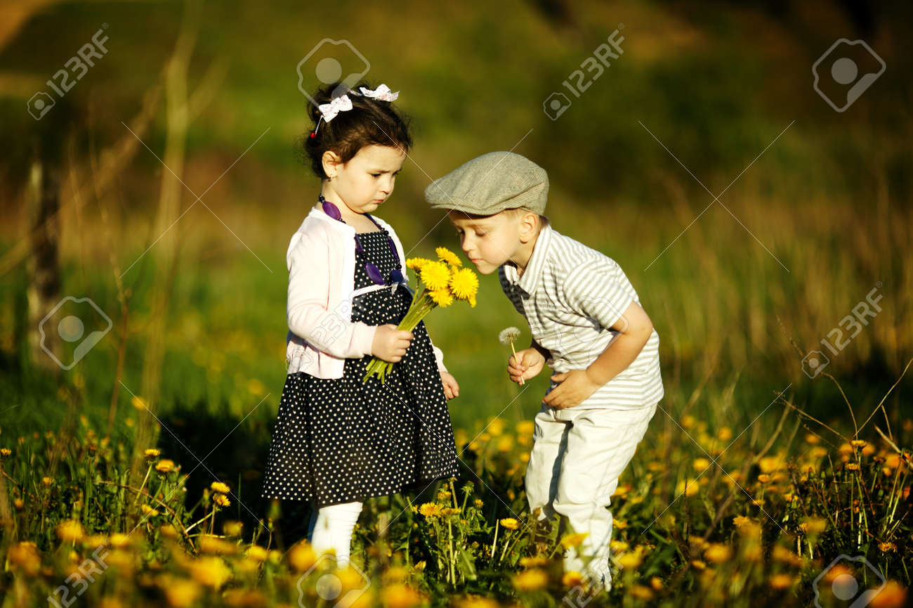 cute boy and girl stock photo, picture and royalty free image. image
