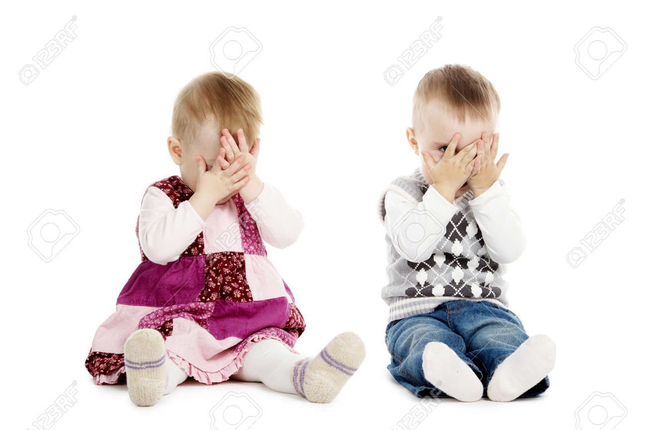 little boy and girl covers his face Stock Photo - 18094497
